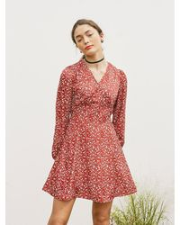 VEMVER - V-neck Flare Dress - Lyst