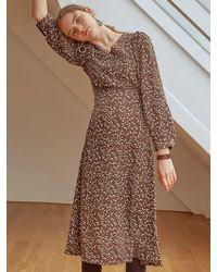 YAN13 - Floral Robe Long Dress_brown - Lyst