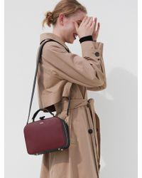 DEMERIEL - Box Bag Medium Bordeaux_navy - Lyst