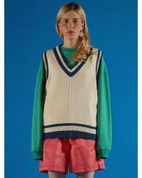 ADER error - Color Matching Knit Vest Navy - Lyst