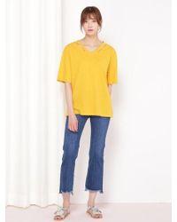 &W STUDIO V Line Slit Basic Tee - Yellow
