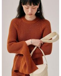 Low Classic - Slit Knit Top - Brown - Lyst