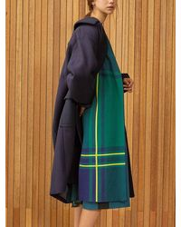 Clue de Clare Check Long Cardigan - Green
