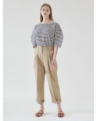 NILBY P Cotton Baggy Trousers - Natural