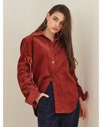 F.COCOROMIZ Corduroy Point Shirt - Red
