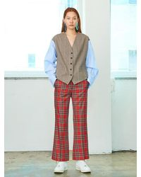 Pushbutton Check Trousers - Red