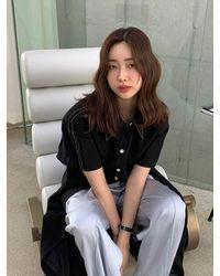AVA MOLLI [summer Wool] Linen Waist Darted Dress - Black