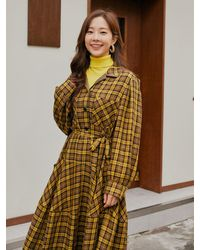 a.t.corner Check Long Shirt Flared Dress Yellow (aedr1f002y2)