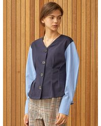 Clue de Clare Tuck Detail Shirt Cardigan - Blue
