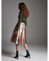 OUAHSOMMET - Metallic Foil Pleated Skirt_champaign Gold - Lyst