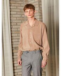 YAN13 - Fomal Open Collar Shirts - Beige - Lyst