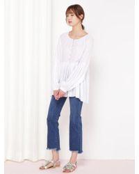 &W STUDIO Soft Shirring Feminine Blouse_ivory - White