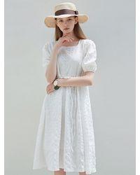 YAN13 Square Neck Flare Midi Dress - White