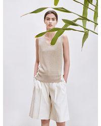 AVA MOLLI V-neck Two Tone Sleeveless Knit - Natural