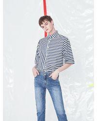 VOIEBIT - V421 Marine Stripe Shirt Blue - Lyst