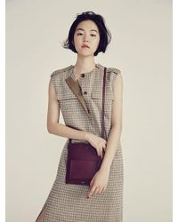 Aheit - Placid Check Khaki Dress - Lyst