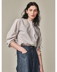 Bouton - Blown Sleeve Blouse White Stripe - Lyst