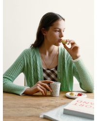 among A Heart Cable Flare Knit Cardigan - Green