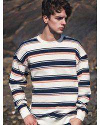 F.ILLUMINATE [unisex] Wood Border Sweat Shirt Navy - Blue
