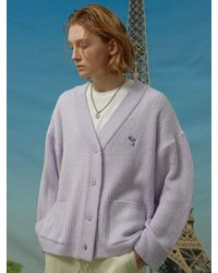 WAIKEI Dolphin Embroidered Oversized Fit Cardigan Light Purple