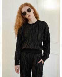 Baby Centaur Crumpled Paper Sweat Shirt [] - Black