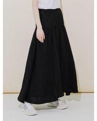 COLLABOTORY Glossy Wrinkle Maxi Skirt - Black