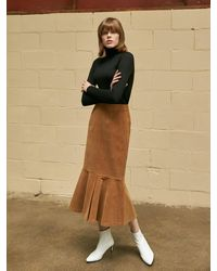 COLLABOTORY Corduroy Mermaid Skirt Camel - Natural