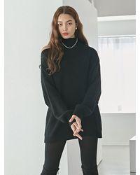 YAN13 Choker Slit Long Knitwear - Black