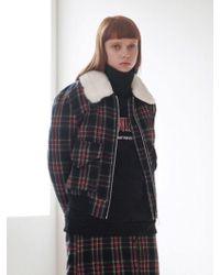 TARGETTO - Fur Collar Check Bluson Black Check - Lyst