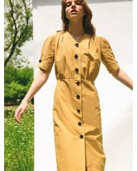 LETQSTUDIO - Multi Tuck Button Front Dress Mustard - Lyst