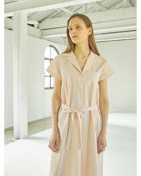 HIDDEN FOREST MARKET Cotton Mini Pocket Dress - Pink