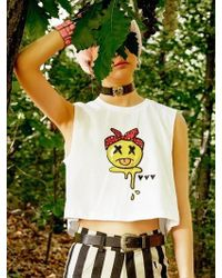 VVV - White Smile Crop Top - Lyst