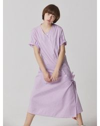 Bouton - Uneven Check Dress - Lavender - Lyst