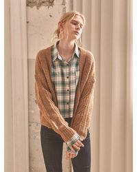 YAN13 Chubby Over Knit Cardigan - Brown