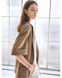 AVA MOLLI [summer Wool] Striped Rolled-up Jacket - Natural