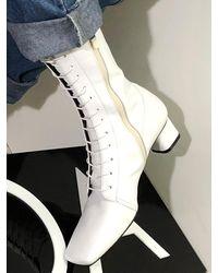 IGINOA Square Slim Lace-up Boots 4 M-ig-180904 - White