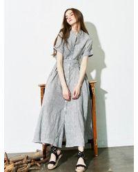 LIUNICK - 2way Stripe Dress (charcoal) - Lyst