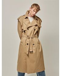 YAN13 Flap Oversized Trench Beige - Natural
