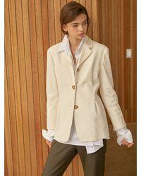 Clue de Clare Tuck Detail Corduroy Jacket - White