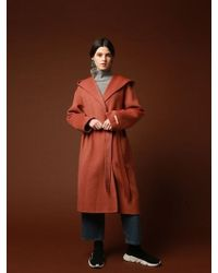 VRUMOUS Handmade Wool Hood Coat Brick - Multicolor