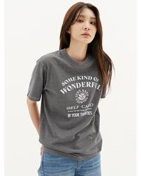 Plac Lucky Wash Graphic Printed Pigment Dyed Short Sleeve T-shirt - Gray