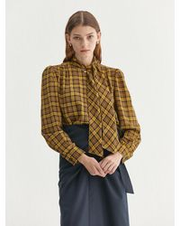 a.t.corner Tied Check Blouse (aebl1f002y2) - Yellow