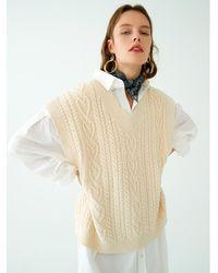 OUI MAIS NON Heart V-neck Cotton Vest - White