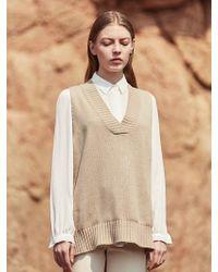 YAN13 - Unbalance Knit Vest_beige - Lyst