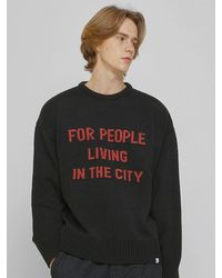 URBANDTYPE Kn079 City Graphic Knit Jumper Black