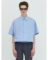 Add [easy-wear] Balloon Striped Shirt - Blue