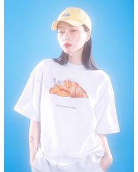 CLUT STUDIO Croissant Half Sweatshirt (white Melange)
