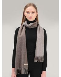MADGOAT Cashmere Muffler Woven Side Brown Ivory