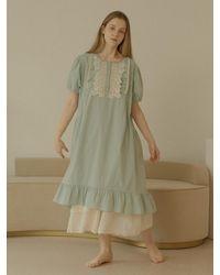 ULLALA PAJAMAS [set] Short Sleeve Dress + Sleeveless Dress - Green