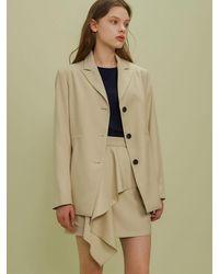 among String Solid Jacket - Natural
